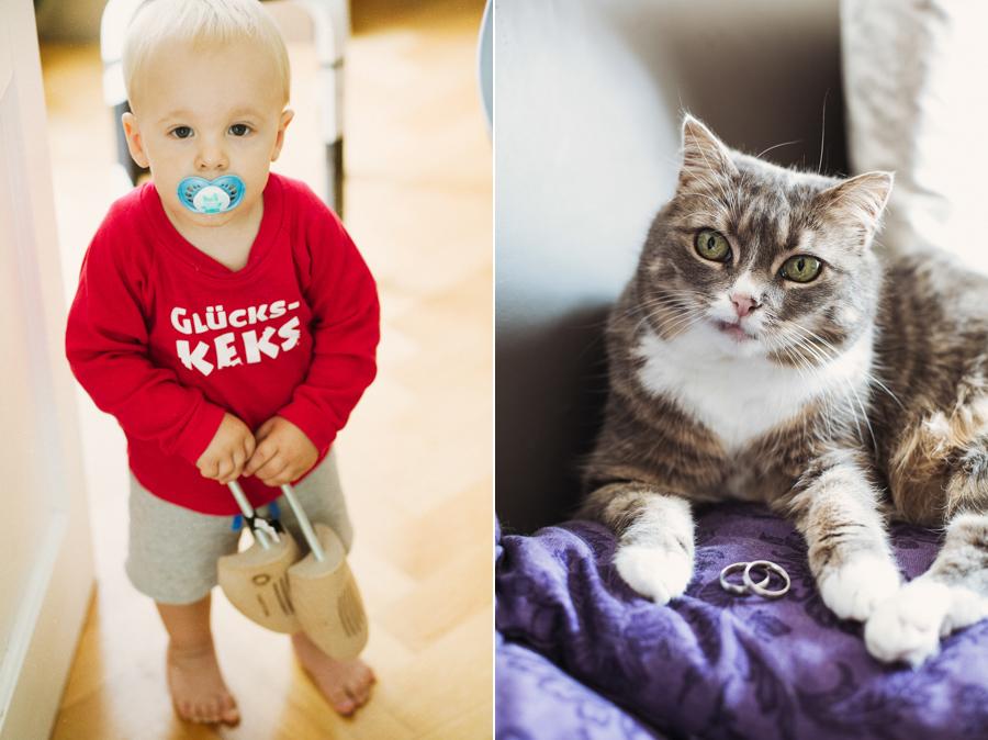 Kind und Katze mit Ringen