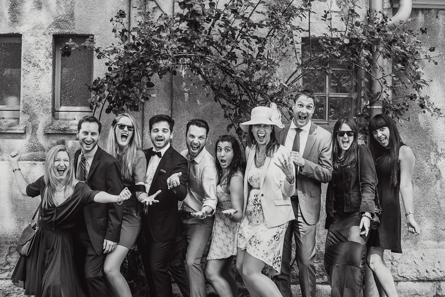 Hochzeitsgäste Gruppenfoto