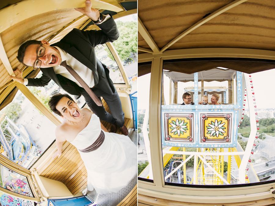 Brautpaarshooting auf dem Riesenrad