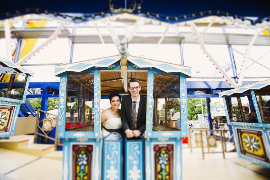 Brautpaar in der Kabine