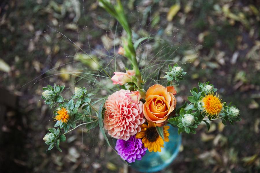 Blumendeko Orange Lila