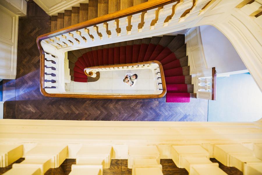 Brautpaar Hochzeitsshooting Treppenhaus